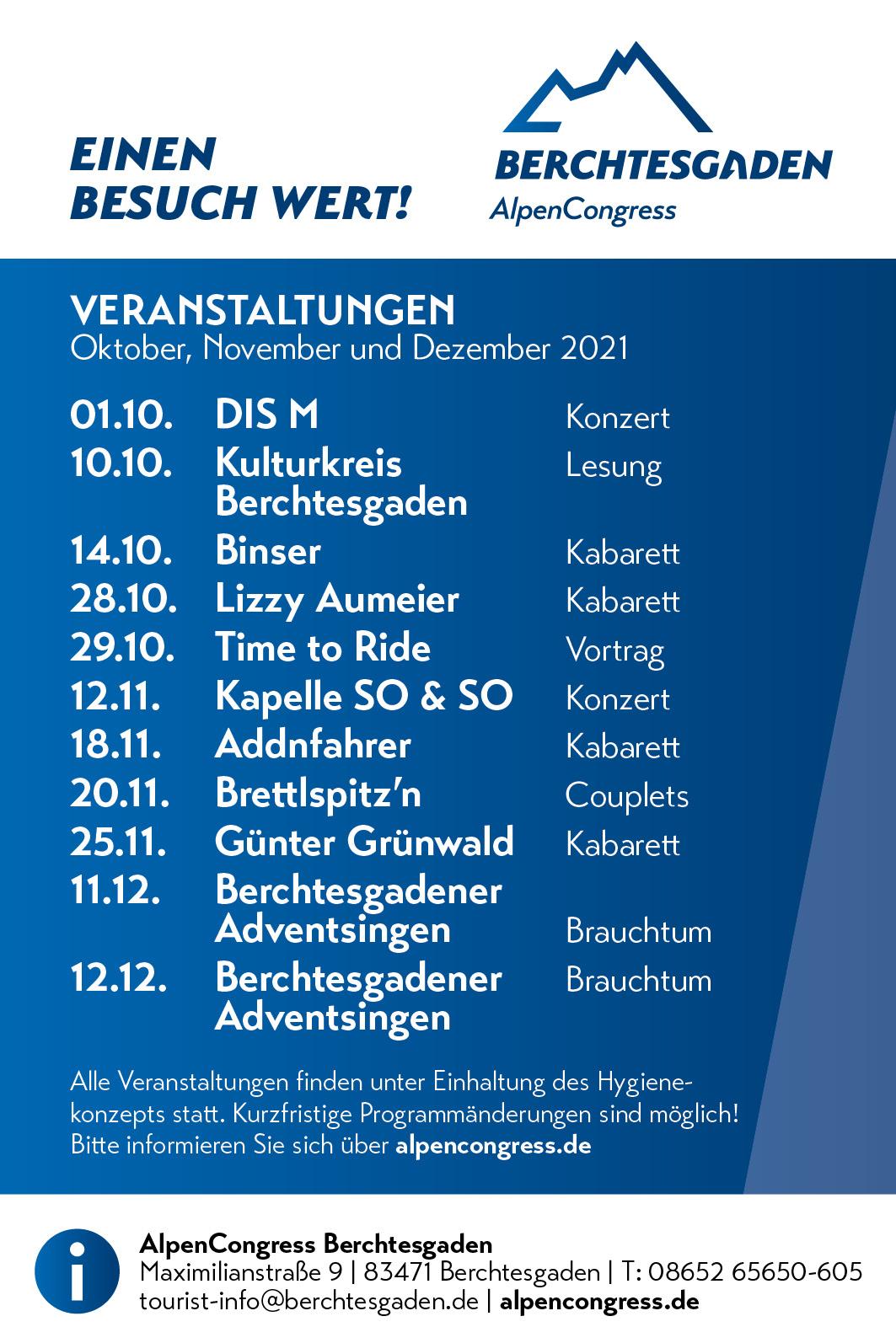 Veranstaltungen Oktober bis Dezember